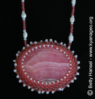 necklace with banded Rhodochrosite