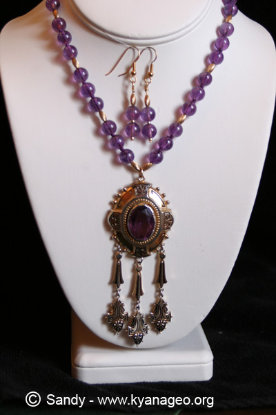 amethyst necklace and ear ring set