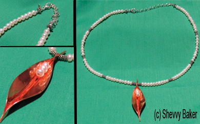 Silver-Pearl Necklace with Copper Leaf